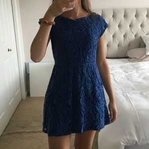 Blue lace swimsuit coverup